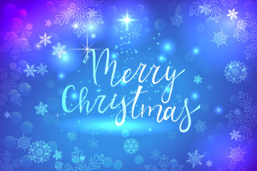 blue glowing merry christmas background with white snowflakes