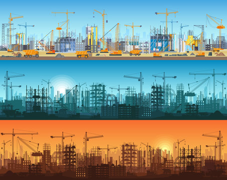 Horizontal banner of city or website construction. Tractors, grader, bulldozers, excavators and tower cranes with skyscraper under construction. Silhouette and trendy flat vector illustration.
