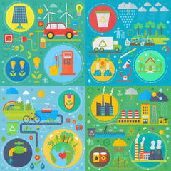 Trendy flat design ecology vector set of web icons. Ecological friendly, low zero emission. Modern green power plants and energy producing stations. Save Earth.