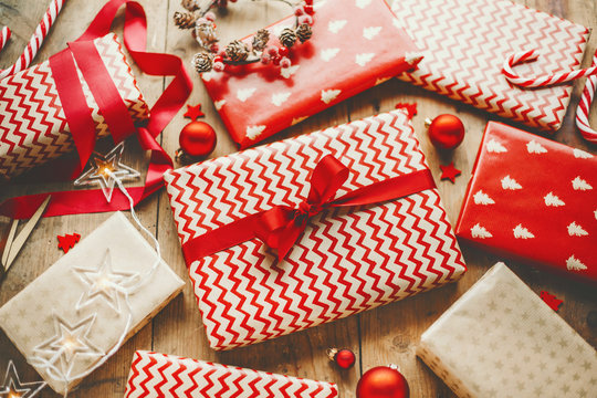 Beautiful Christmas gifts on wooden table