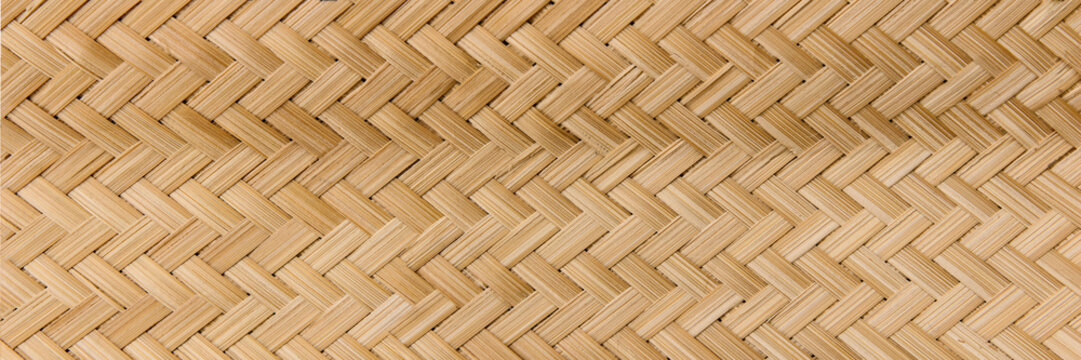 Panorama Rattan texture, detail handcraft bamboo weaving texture background,bamboo wall background.