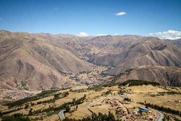 Panoramic view of spectacular high mountains, Cordillera, Andes, Peru, Clear blue sky with a few white clouds, scenic landscape, wallpaper