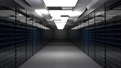 Server room data center. 3d render