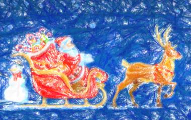 Dessin d'enfant. Le père Noël et son traineau