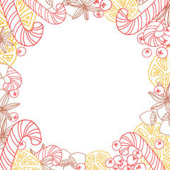 Christmas round frame in lineart style with candies, berries, oranges, nuts and spice