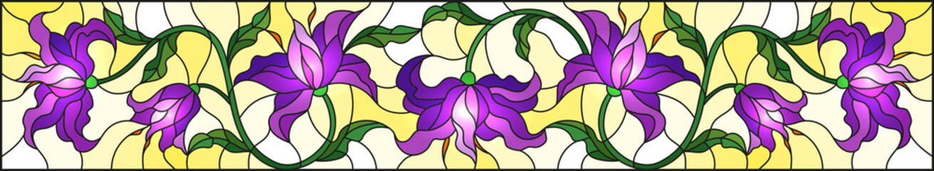 llustration in stained glass style with flowers, leaves and buds of purple lilies on a yellow background