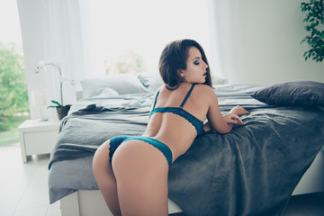 Back behind rear view of cute sweet gorgeous nice stunning big a