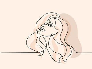 Continuous one line drawing. Abstract portrait of pretty young woman with beautiful hair. Vector soft color illustration Wall mural