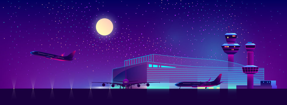 Vector background of night airport with takeoff of the plane in ultraviolet colors. Terminal, control room in bright neon lights, modern illumination. Night sky, landscape with hangar, building.