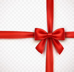 Bow isolated on transparent background. Vector Christmas red satin ribbon with shadow, xmas wrap element template.