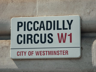Street sign for Piccadilly Circus