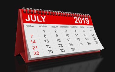 Calendar -  July 2019  (clipping path included)