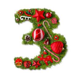 Number 3. Christmas tree decoration