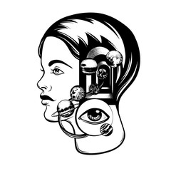 Vector hand drawn illustration of young girl with door in her head and human eye. Portrait with planets of Solar system. Template for card, poster, banner, print for t-shirt.