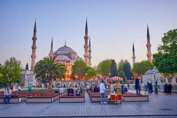 The Sultan Ahmed Mosque in Istanbul at sunset time