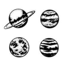 Vector hand drawn illustration of planets. Template for card, poster, banner, print for t-shirt.