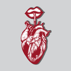 Vector hand drawn illustration of human heart with lips and straw. Hand sketched tattoo artwork. Template for card, poster, banner, print for t-shirt.