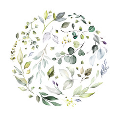 watercolor floral arrangements with leaves, herbs.  herbal illustration. Botanic composition for wedding, greeting card. round composition