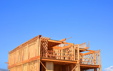 Construction site of a wooden house in clifornia