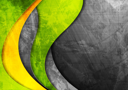 Grunge wavy corporate green and yellow background