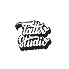 Tattoo Studio. Vector handwritten trendy lettering. Template for card, poster, banner, label, print for t-shirt, logo design.