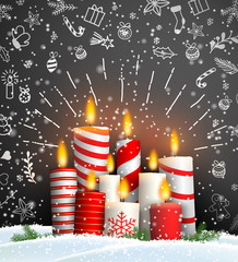 Christmas background with group of burning candles
