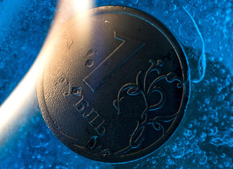 A view shows a Russian one rouble coin in this picture illustration