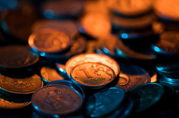 A view shows Russian rouble coins in this picture illustration