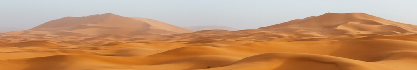 Amazing panorama landscape showing Erg Chebbi sanddunes desert at the Western Sahara Desert of Morocco