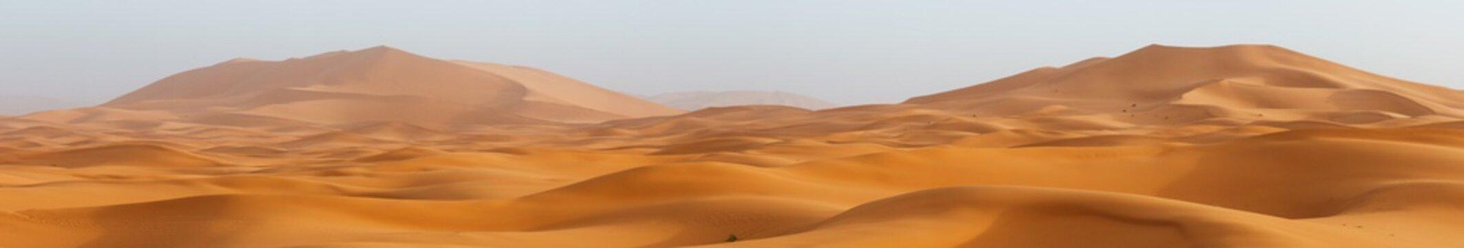 Amazing panorama landscape showing Erg Chebbi sanddunes desert at the Western Sahara Desert of Morocco
