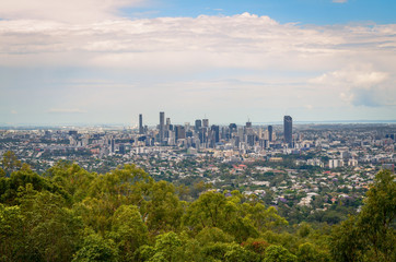 Panoramic view of Brisbane from Mt-Coot-Tha Lookout point