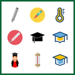 degree icons set. symbol, meter, learning and nobody graphic works