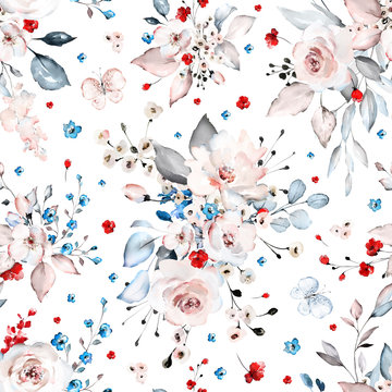 Seamless pattern with white,  blue and red flowers and leaves. Hand drawn background.  floral pattern for wallpaper or fabric. Flower rose. Botanic Tile.