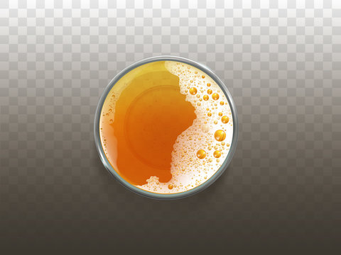 Vector realistic beer in glass, frothy drink top view. Golden transparent alcohol liquid, ale or lager in cup for party, celebration. Fresh product of brewery with foam, bubbles isolated on background