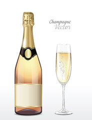 Vector bottle of pink champagne and full champagne glass
