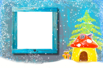 Creative Christmas background with empty board