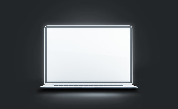 Blank white luminous laptop screen mockup, isolated in darkness, 3d rendering. Empty glowing computer display mock up. Clear modern open lap top. Digital lcd monitor template.