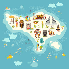 Bali map vector. Illustrated map of Bali for children/kid. Cartoon abstract atlas of Bali with landmark: gazebo, Temple, motorcycle and balinese dancer