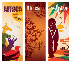 Africa travel background, decorative symbol of Africa continent with wild animals silhouettes, set of flyers template