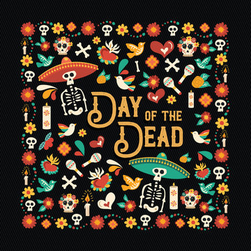 Day of the dead mexican celebration greeting card