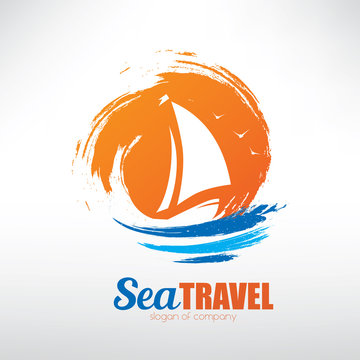 sail boat on seascape background, stylized vector symbol