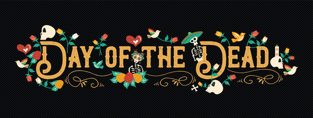 Day of the dead mexican celebration web banner