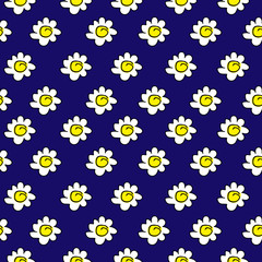 floral yellow seamless chamomile drawing. vector illustration. White daisies seamless pattern on a dark blue background.