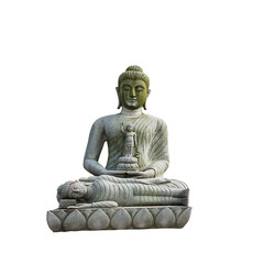 Buddha statue on white background.