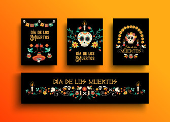 Day of the dead mexican holiday card collection