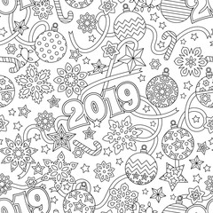 New year 2019 hand drawn outline festive seamless pattern with snowflakes, christmas balls, deers and stars isolated on white background. coloring antistress book for adult.