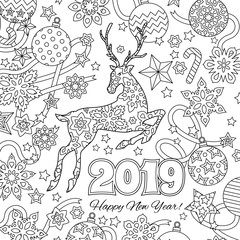 New year congratulation card with numbers 2019, deer and festive objects. Zentangle inspired style. Zen colorful graphic. Image for calendar, coloring book.