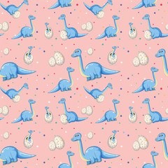 Blue dinosaur on seamless pattern