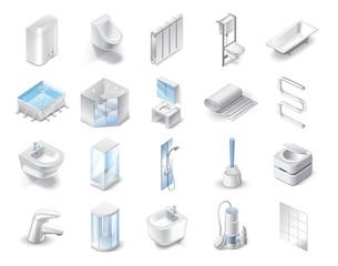 Set of icons of plumbing theme