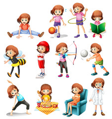 Set of cute girl with various activity